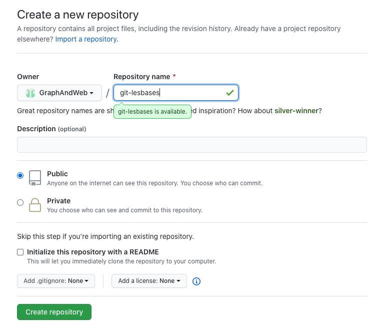 créer un nouveau dépôt sur Git