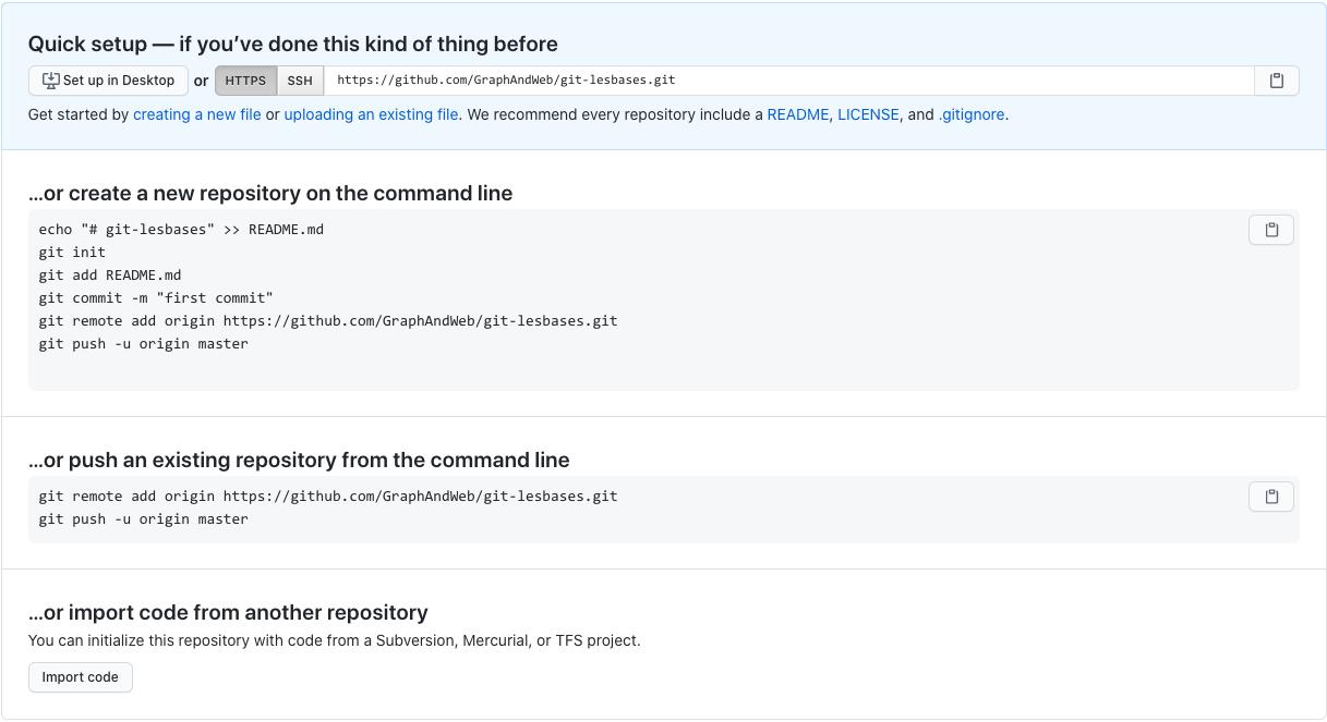 Option d'un dépôt vide sur Github